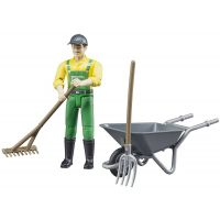 Bruder 62610 Bworld Figurka Zemědělec s kolečkem a nářadím