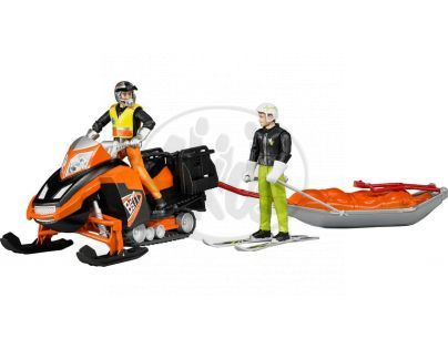 Bruder 63100 Bworld Sněžný skútr se sáněmi a figurkami