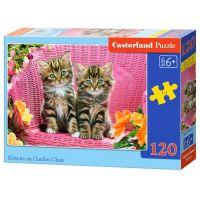 Castorland Puzzle 120 dílků Koťata v zahradním křesle