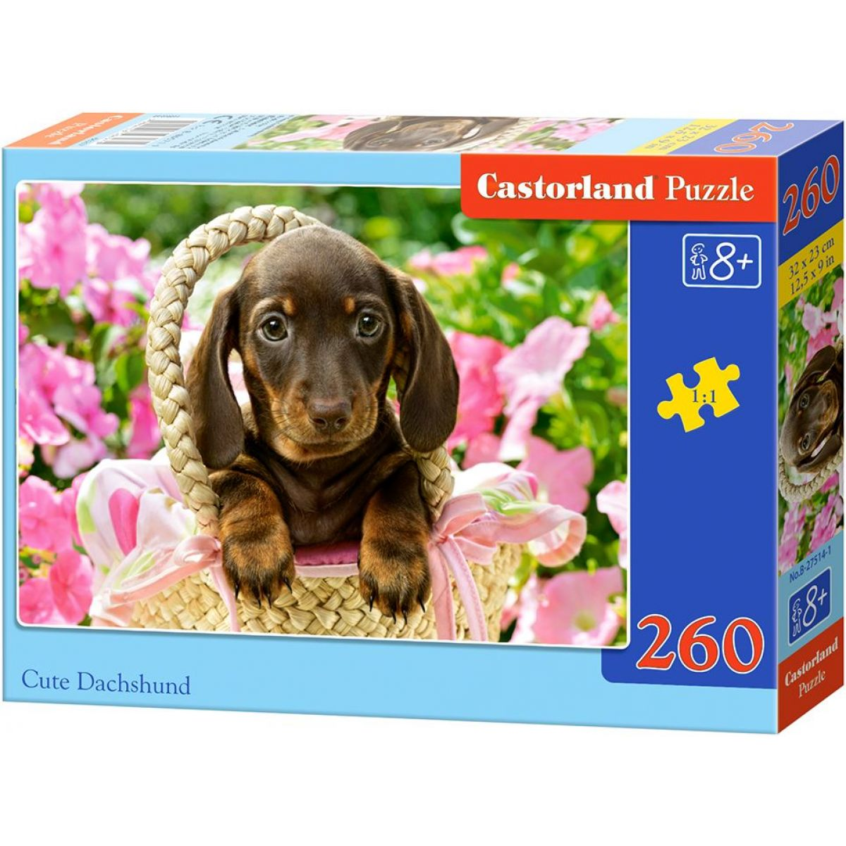 Castorland Puzzle Roztomilý jezevčík v košíku 260 dílků
