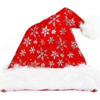 Rappa Čepice vánoční se stříbrnými vločkami 40 cm