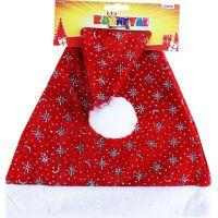 Rappa Čepice vánoční se stříbrnými vločkami 40 cm 3