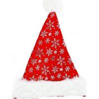 Rappa Čepice vánoční se stříbrnými vločkami 40 cm 2