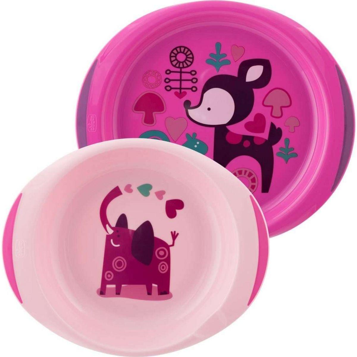 Chicco Jídelní sada talíř a miska růžová Chicco