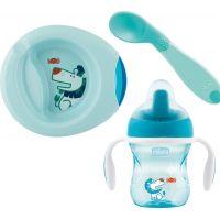 Chicco Jídelní set talíř, lžička a hrnek modrý