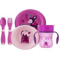 Chicco Jídelní set talíř, příbor a hrnek růžový