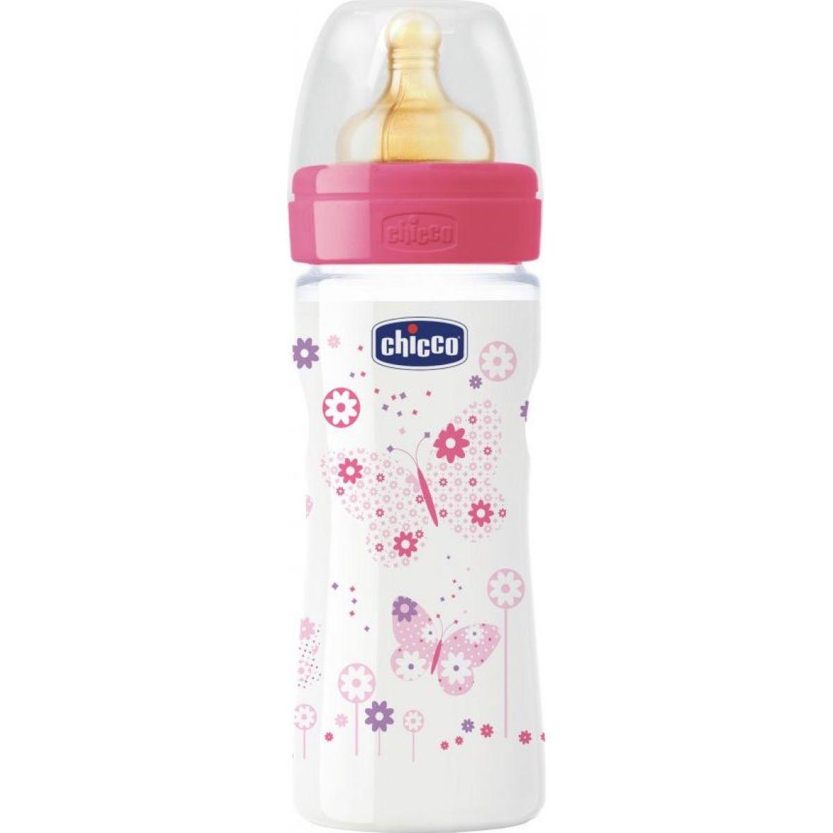 Chicco Láhev bez BPA Well-Being kaučukový dudlík střední 250 ml růžová