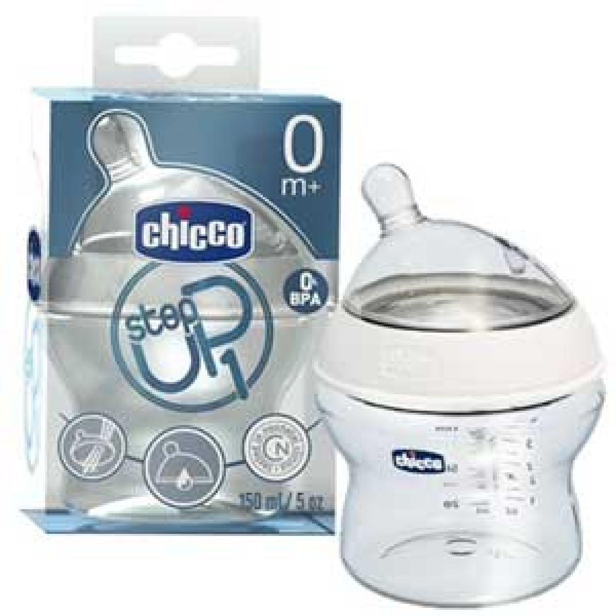 CHICCO 60070 Láhev plast 150 ml, silik.d., 0+