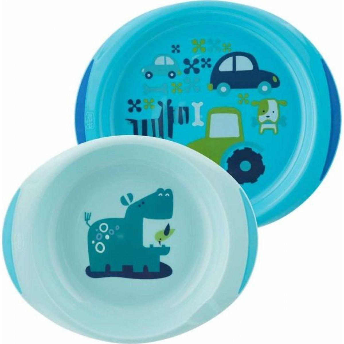 Chicco Modrá jídelní sada s talířem a miskou