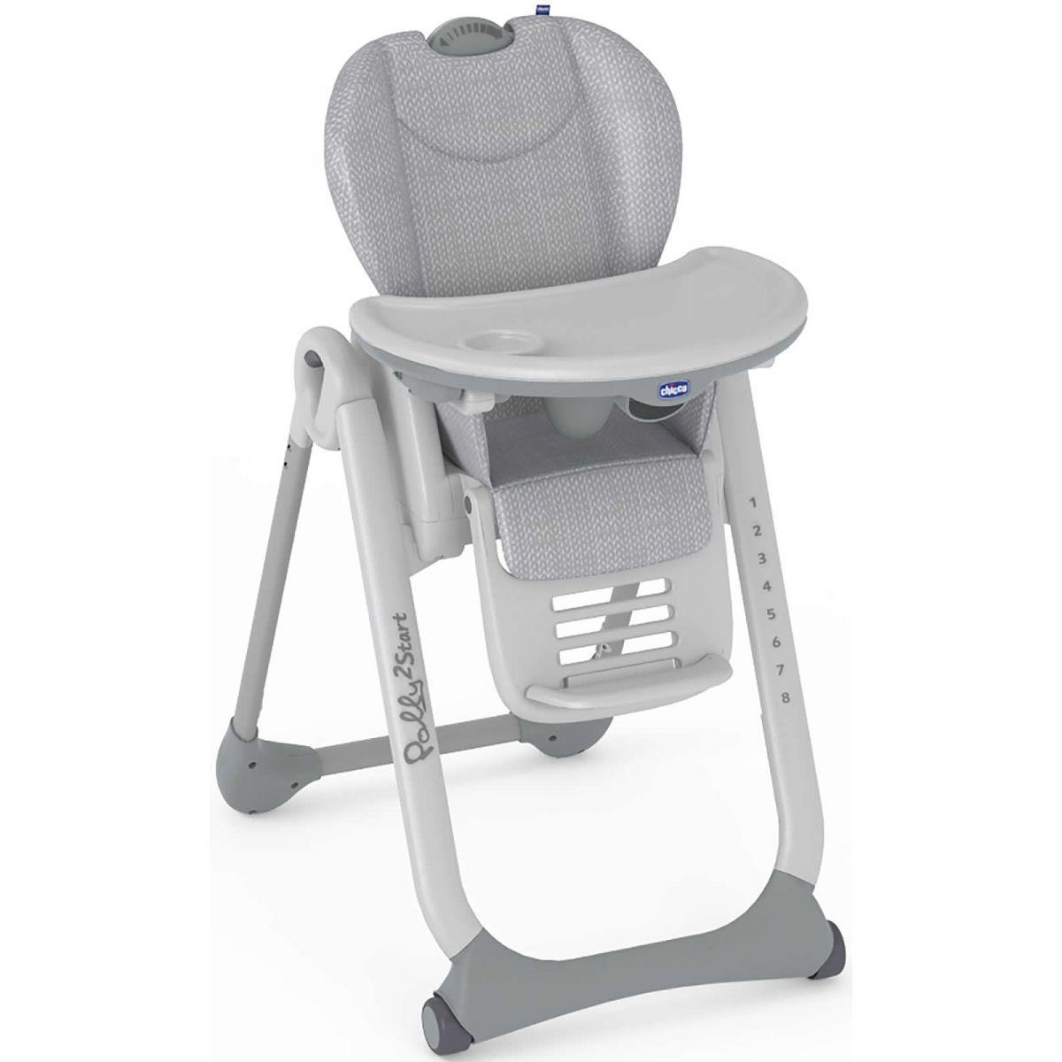 Chicco Židlička jídelní Polly 2 Start Happy Silver