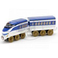 Chuggington Dřevěná mašinka Hanzo s vagónem