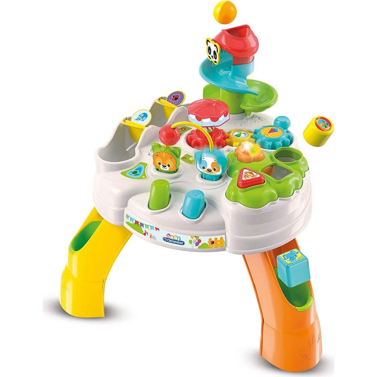 Clementoni Clemmy baby Veselý hrací stolek s kostkami a zvířátky