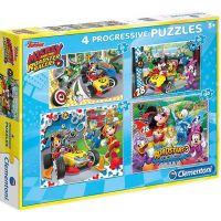 Clementoni Disney Puzzle Progressive Mickey závodník 4 v 1
