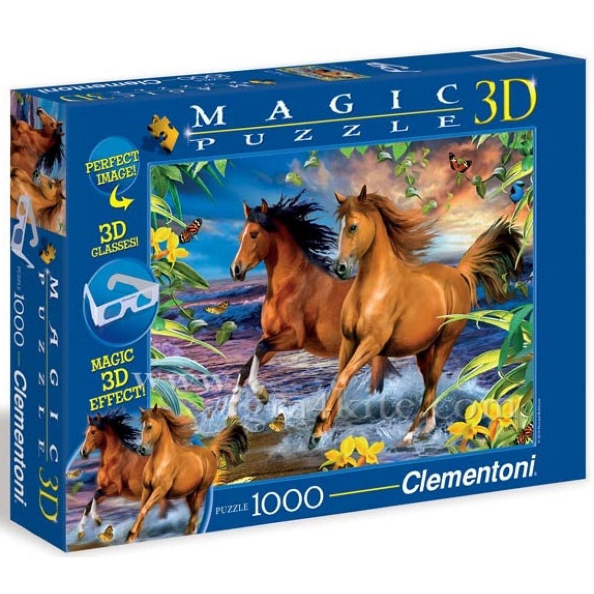 Clementoni 39222 - Puzzle Magic 3D 1000, Kůň ve vlnách