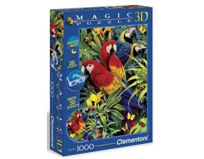 Clementoni 39188 - Puzzle Magic 3D 1000, Papoušci