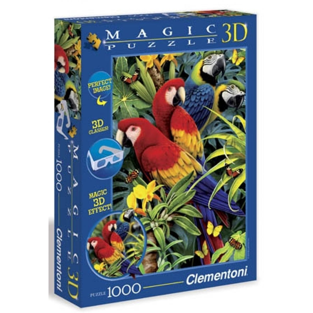 Clementoni 39188 - Puzzle Magic 3D 1000, Papoušci