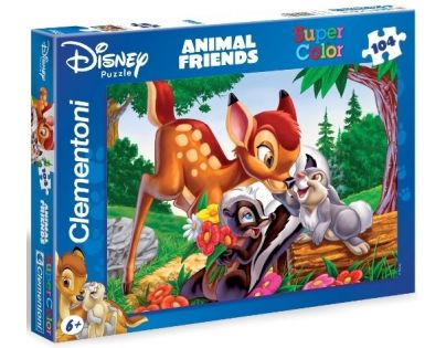 Clementoni 27454 - Puzzle Supercolor 104, Kamarádi Bambi
