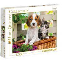 Clementoni 39270 - Puzzle 1000, Štěně s koťátkem