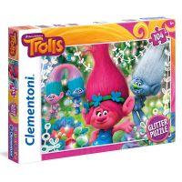 Clementoni Trollové Supercolor Glitter Puzzle 104 dílků