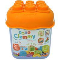 Clementoni Clemmy 20 barevných kostek v kyblíku Základní barvy oranžové víko