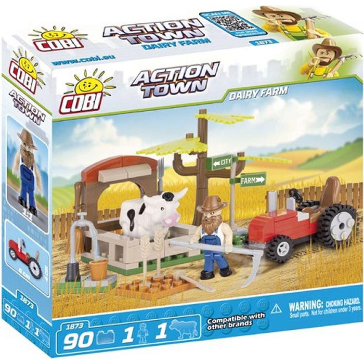 Cobi Action Town 1873 Farma traktor a kráva Cobi