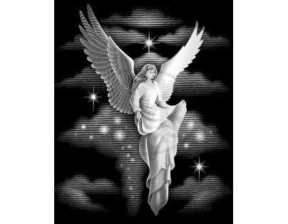 Creatoys Reeves Škrábací obrázek stříbrný 20 x 25 cm - Anděl