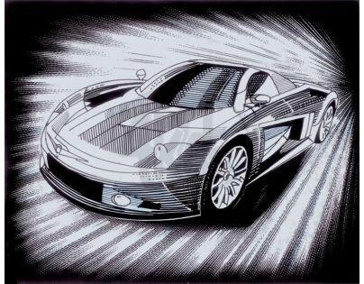 Creatoys Reeves Škrábací obrázek stříbrný 20 x 25 cm - Auto