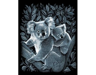 Creatoys Reeves Škrábací obrázek stříbrný 20 x 25 cm - Koaly