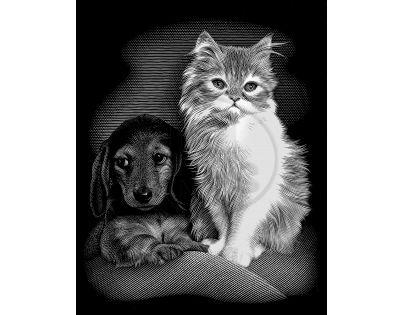 Creatoys Reeves Škrábací obrázek stříbrný 20 x 25 cm - Kočka a pes