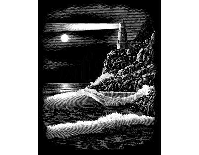 Creatoys Reeves Škrábací obrázek stříbrný 20 x 25 cm - Maják