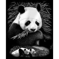 Creatoys Reeves Škrábací obrázek stříbrný 20 x 25 cm - Pandy