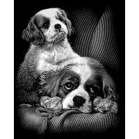 Creatoys Reeves Škrábací obrázek stříbrný 20 x 25 cm - Psi