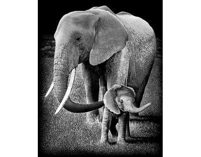 Creatoys Reeves Škrábací obrázek stříbrný 20 x 25 cm - Slon