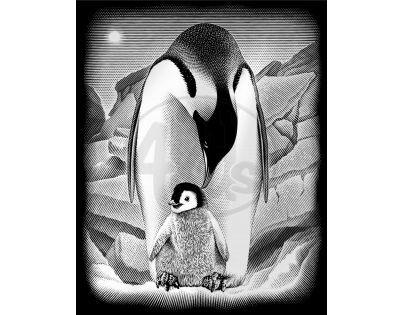 Creatoys Reeves Škrábací obrázek stříbrný 20 x 25 cm - Tučňáci