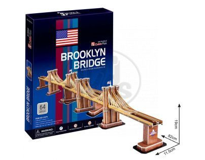 CubicFun 17C107- 3D Puzzle Brooklin Bridge, 64 dílků