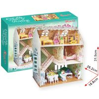 """CubicFun 17C645 - Puzzle 3D Domek """"SNŮ"""" pro panenky – 160 dílků"""
