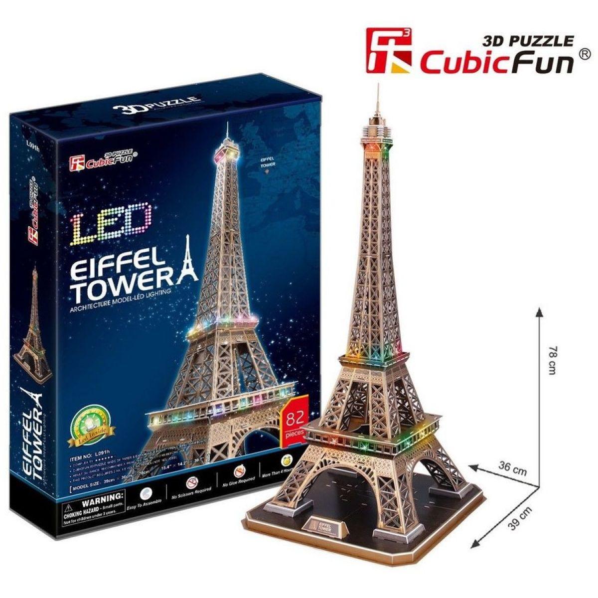 CubicFun Puzzlev 3D Eiffelova věž  LED 82 dílků