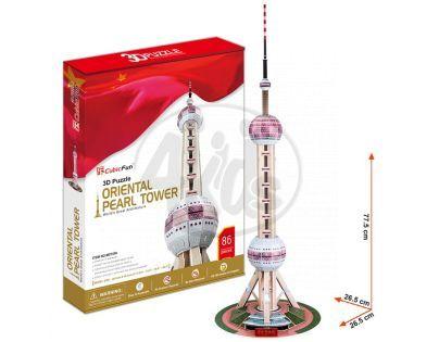 CubicFun 17C105 - Puzzle 3D Tv věž Oriental Pearl - 85 dílků
