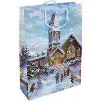 Wiky Dárková taška L 30 x 44 x 12 cm Vánoce kostel