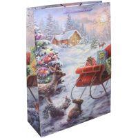 Dárková taška L 30 x 44 x 12 cm Vánoce sáně