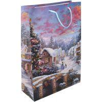 Wiky Dárková taška L 30 x 44 x 12 cm Vánoce vesnice