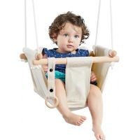 Dvěděti Dětská textilní houpačka bavlněná béžová