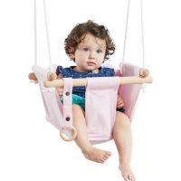 Dvěděti Dětská textilní houpačka bavlněná růžová