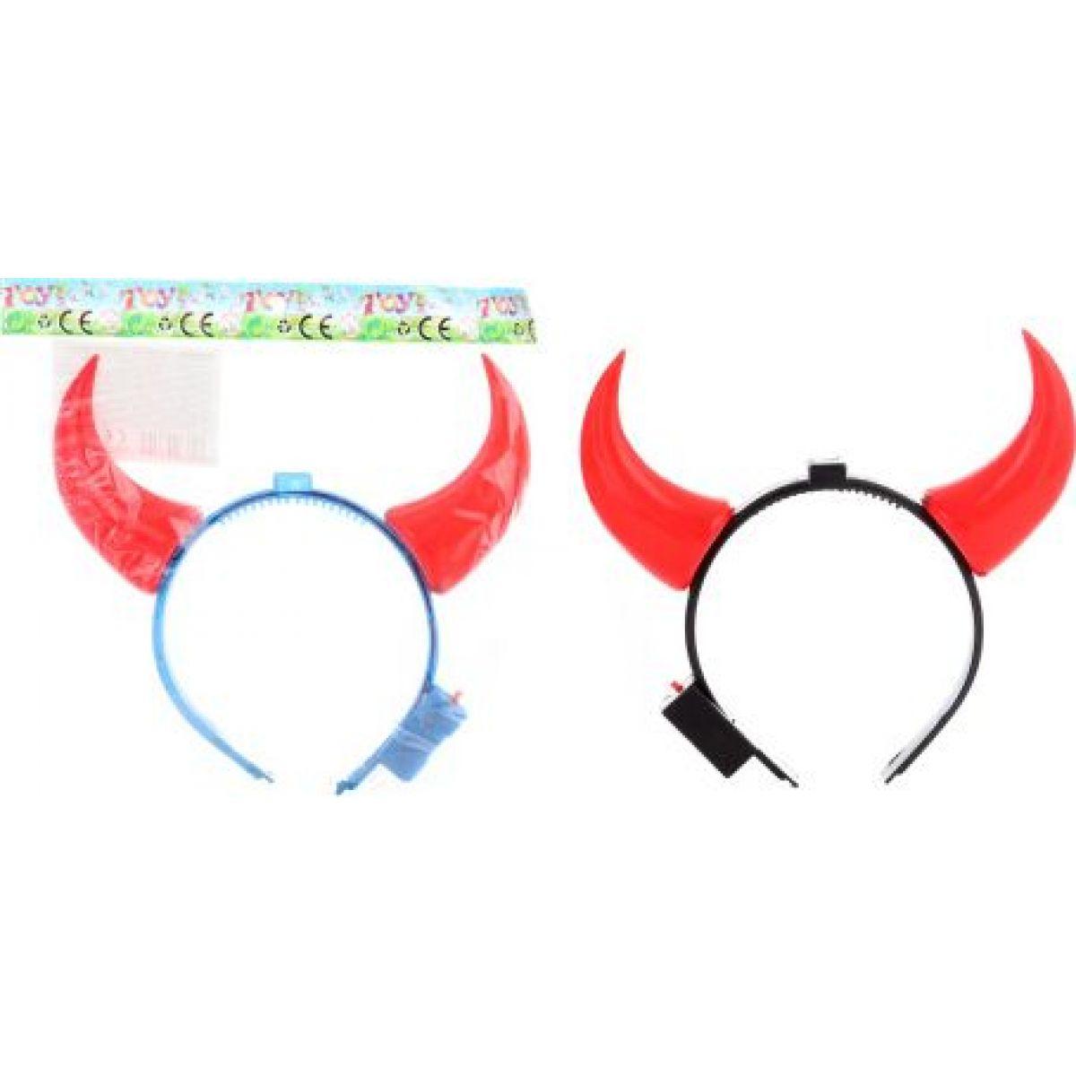 Dětské čertovské svítící rohy na čelence - černé