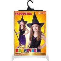 Rappa Dětský kostým Čarodějnice s kloboukem fialové vel. S 5