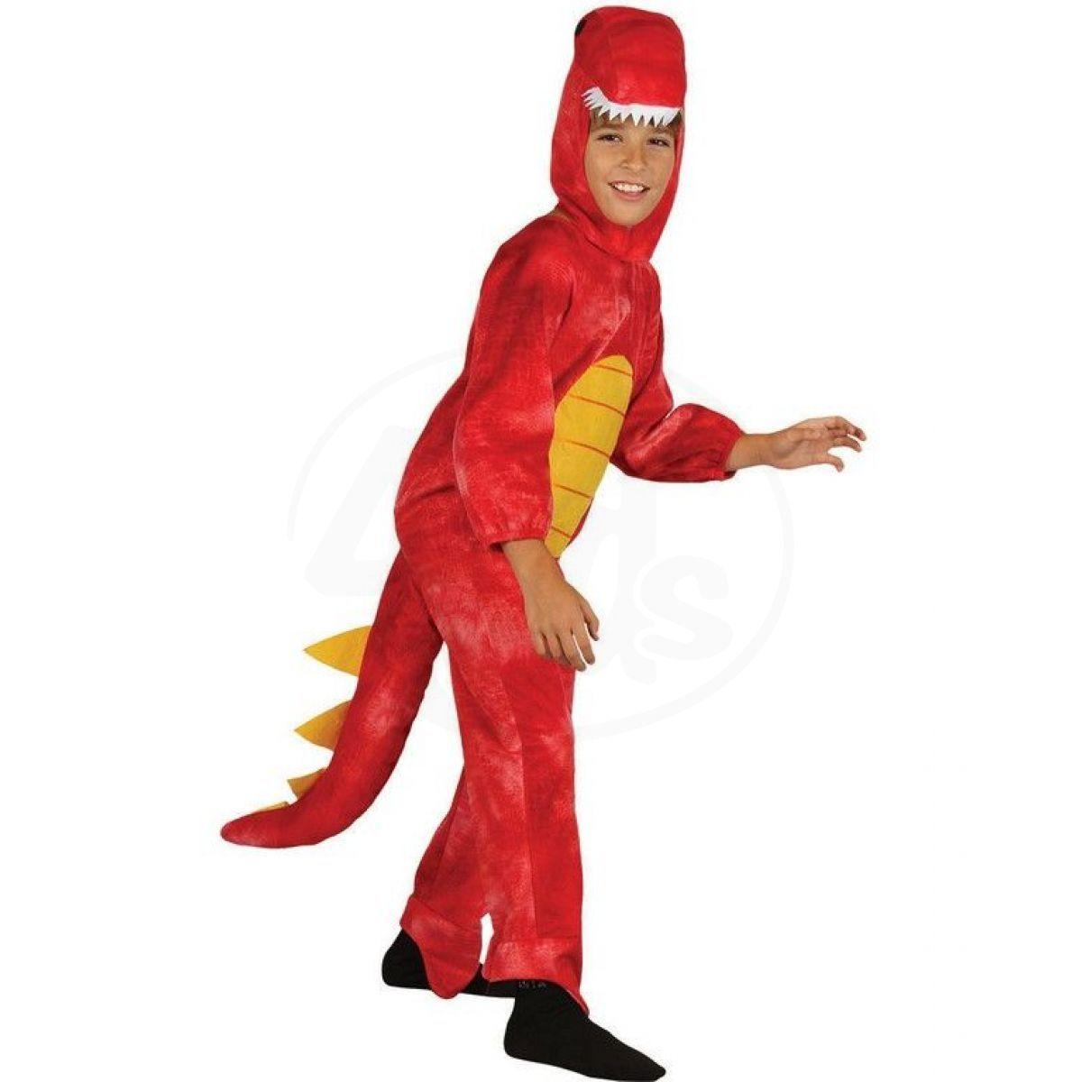 Dětský kostým na karneval Dinosaurus červený 120 - 130 cm 3385108297f