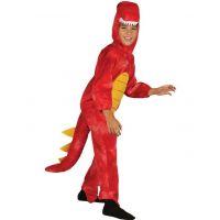 Dětský kostým na karneval Dinosaurus červený 120 - 130 cm