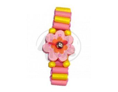 Dřevěné náramkové hodinky - Růžovo žlutá