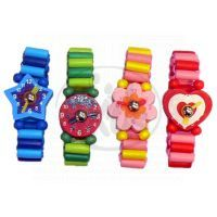 Dřevěné náramkové hodinky - Růžovo žlutá 2