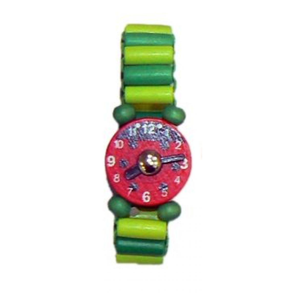 Dřevěné náramkové hodinky - Zelená